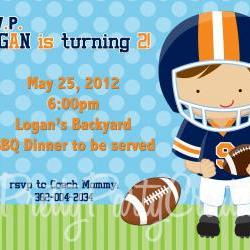 FOOTBALL invitation - U PRINT - photo or no photo - choose your little football player and colours